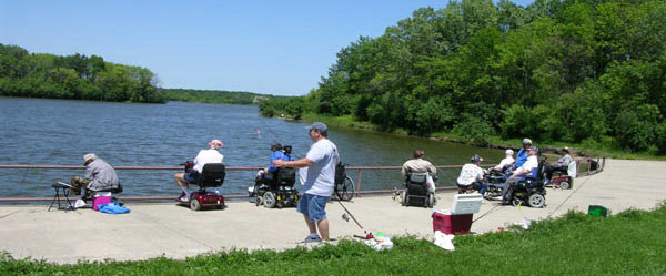 Disabled Veterans Fishing from a dock